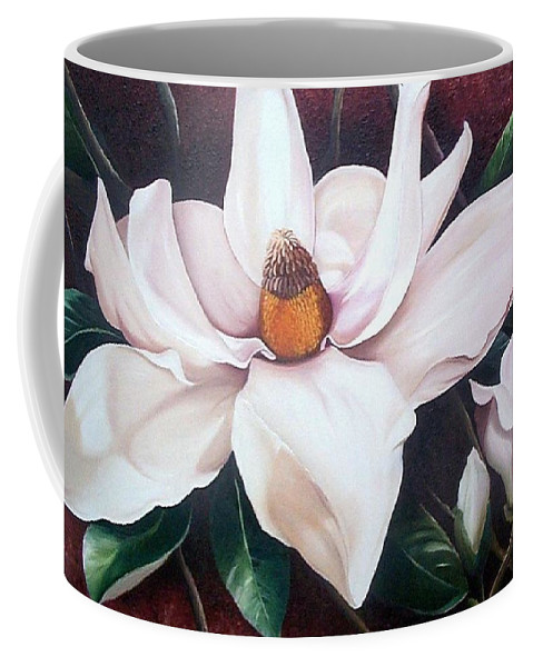 Magnolia Southern Bloom Floral Botanical White Coffee Mug featuring the painting Southern Beauty by Karin Dawn Kelshall- Best