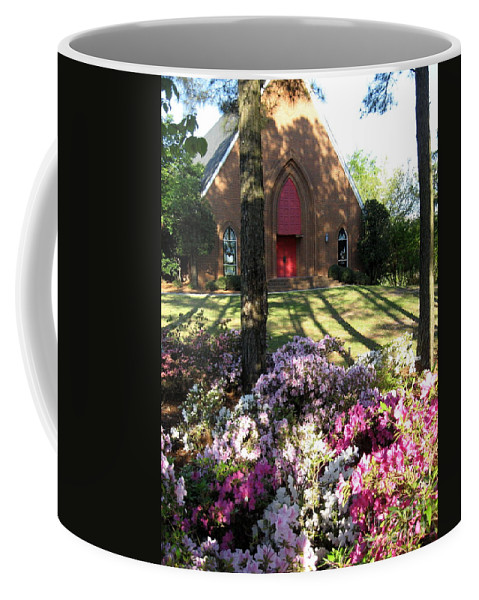 Church Coffee Mug featuring the digital art Southern Church In Bloom by Matthew Seufer