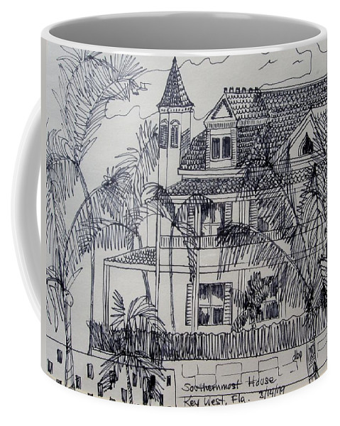 Southernmost House Coffee Mug featuring the mixed media Southernmost House Key West Florida by Diane Pape