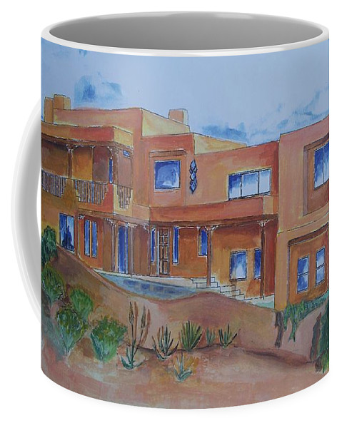 Southwestern Coffee Mug featuring the painting Southwestern Home Illustration by Eric Schiabor