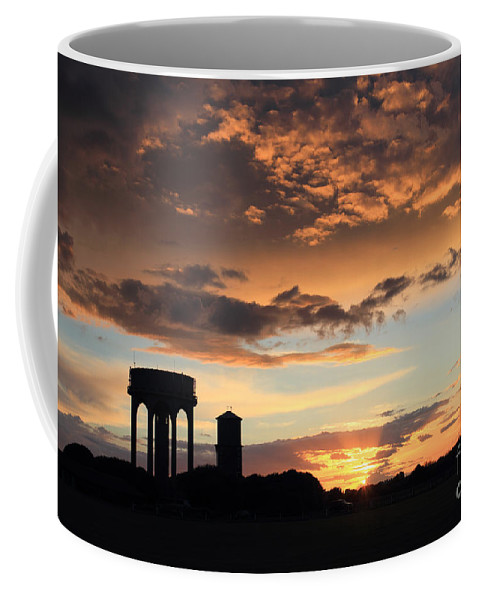 Southwold Common Sunset Dusk Uk England English British Britain Water Towers Landscape Landmark Icon Iconic Suffolk Scenic Cloud Formations Summer Calm Tranquil Coffee Mug featuring the photograph Water Towers On Southwold Common by Julia Gavin