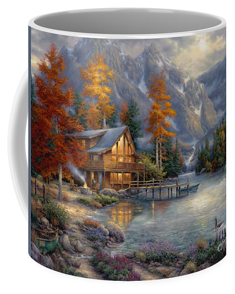 Mountain Cabin Coffee Mug featuring the painting Space for Reflection by Chuck Pinson