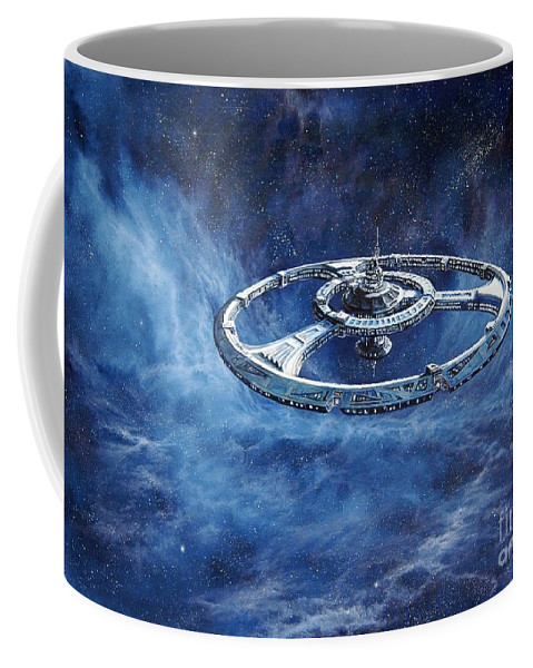 Sci-fi Coffee Mug featuring the painting Deep Space Eight Station of the Future by Murphy Elliott