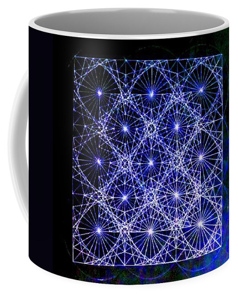 Space Coffee Mug featuring the drawing Space Time At Planck Length Vibrating At Speed Of Light Due To Heisenberg Uncertainty Principle by Jason Padgett