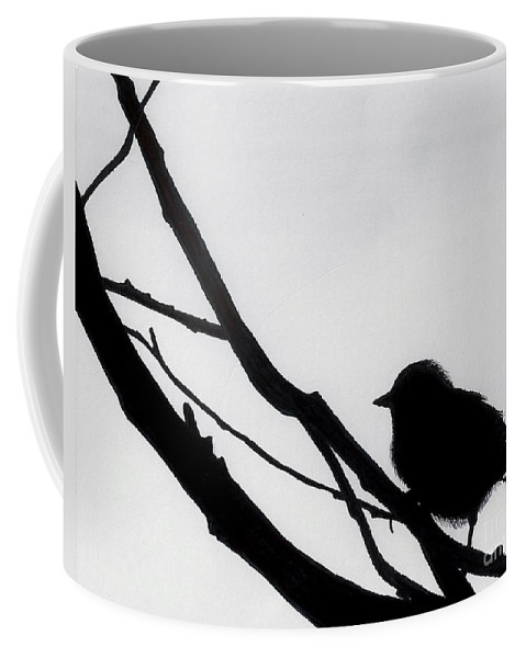 Bird Coffee Mug featuring the drawing Sparrow In A Gray Sky by D Hackett