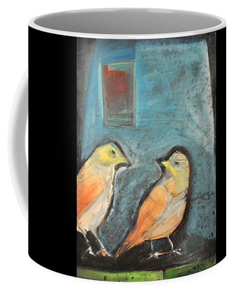 Birds Coffee Mug featuring the painting Sparrows by Tim Nyberg
