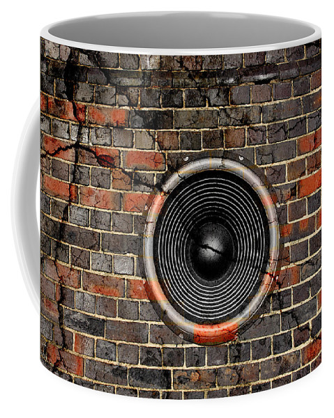 Background Coffee Mug featuring the photograph Speaker On A Cracked Brick Wall by Steve Ball