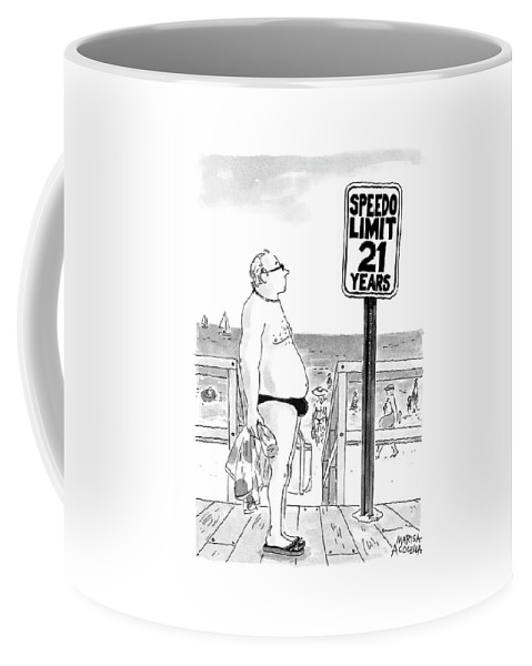 Automobiles - Speeding Coffee Mug featuring the drawing Speedo Limit 21 Years by Marisa Acocella Marchetto