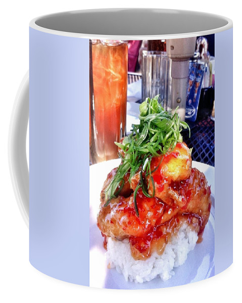Time To Eat Coffee Mug featuring the photograph Spicy Sweet Chicken by Susan Garren