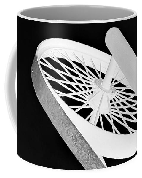 Black Coffee Mug featuring the photograph Spinning Wheel by AJ Schibig