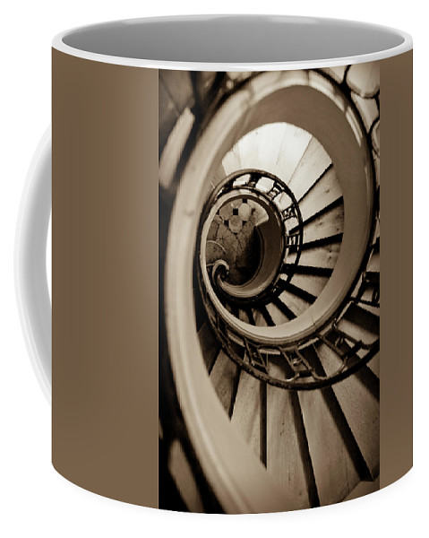 B&w Coffee Mug featuring the photograph Spiral Staircase by Sebastian Musial