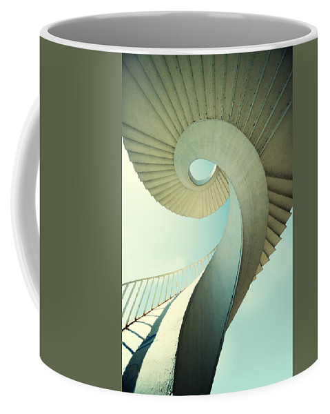 Spiral Coffee Mug featuring the photograph Spiral Stairs In Pastel Tones by Jaroslaw Blaminsky