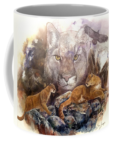 Cougar Coffee Mug featuring the painting Spirit Cat by Sherry Shipley