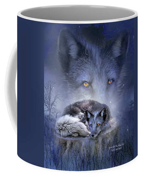 Fox Coffee Mug featuring the mixed media Spirit Of The Blue Fox by Carol Cavalaris