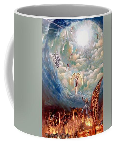 Spiritual Warfare Painting Coffee Mug featuring the painting Spiritual Warfare by Susanna Katherine