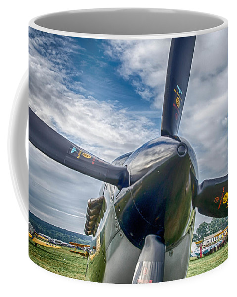 Aviation Coffee Mug featuring the photograph Spitfire Prop  7d03705 by Guy Whiteley