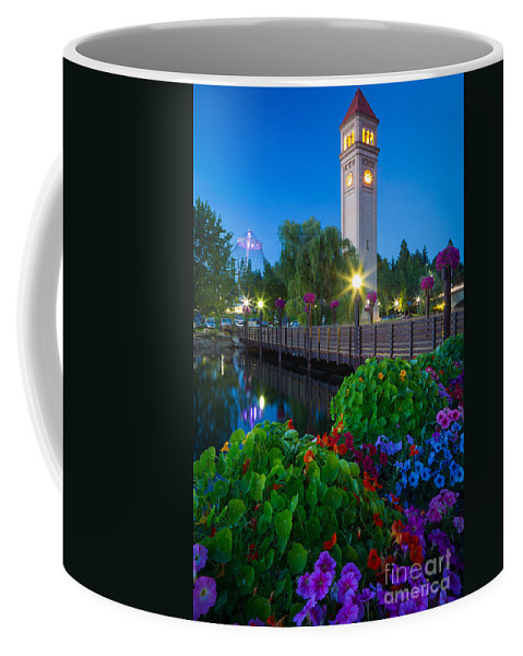 America Coffee Mug featuring the photograph Spokane Clocktower By Night by Inge Johnsson