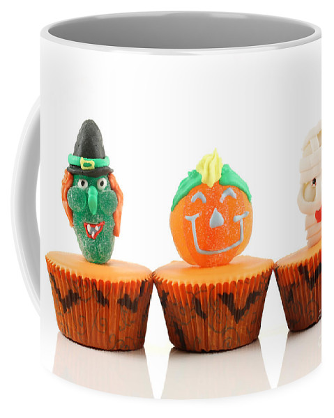 Cup Coffee Mug featuring the photograph Spooks Cup Cakes On White Background by Simon Bratt Photography LRPS