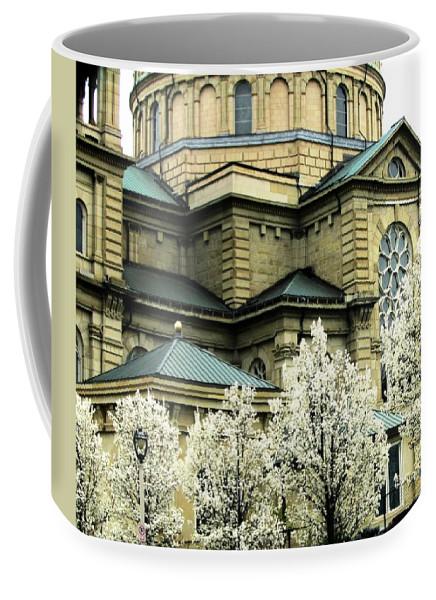 St. Josaphat Coffee Mug featuring the photograph Spring At The Basilica by Karen Majkrzak