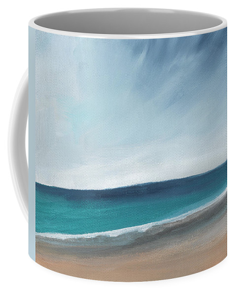 Beach Coffee Mug featuring the painting Spring Beach- Contemporary Abstract Landscape by Linda Woods