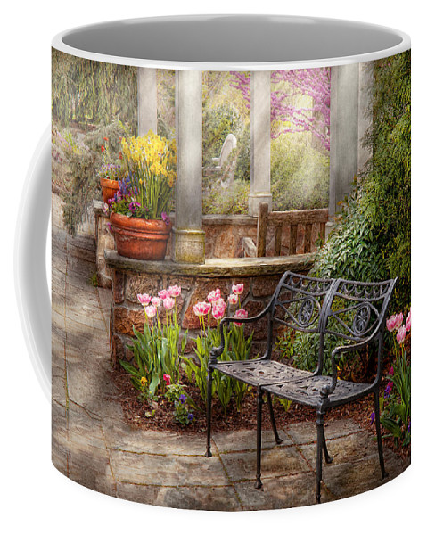 Spring Coffee Mug featuring the photograph Spring - Bench - A Place To Retire by Mike Savad