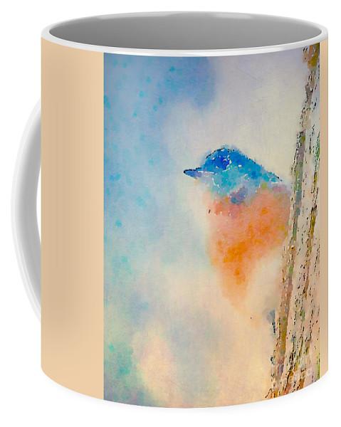 Bluebird Coffee Mug featuring the photograph Spring Blues - Digital Watercolor by Kerri Farley