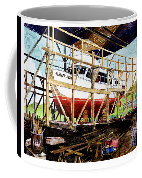 Marinas Coffee Mug featuring the painting Yacht Glacier Bear hauled out in Gig Harbor by Jack Pumphrey