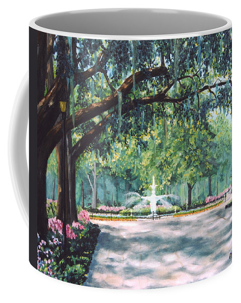 Savannah Coffee Mug featuring the painting Spring In Forsythe Park by Stanton Allaben
