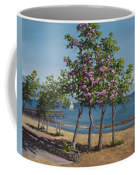 Landscape Coffee Mug featuring the painting Spring In Kings Beach Lake Tahoe by Darice Machel McGuire