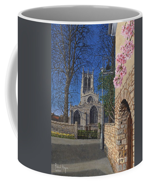 Landscape Coffee Mug featuring the painting Spring Morning Brides Cottage Tickhill Yorkshire by Richard Harpum