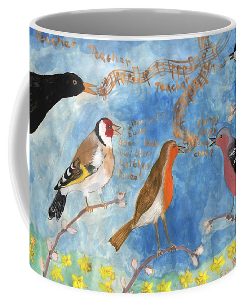 Birds Coffee Mug featuring the painting Spring Singing Beginning by Sushila Burgess