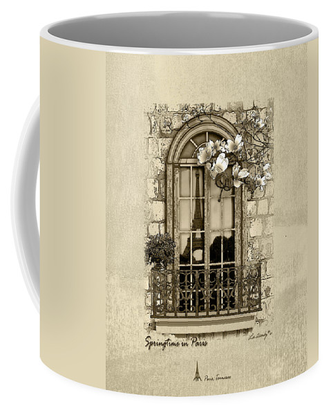 Eiffel Tower Coffee Mug featuring the mixed media Springtime In Paris In Sepia by Lee Owenby