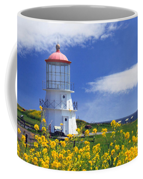 Lighthouse Coffee Mug featuring the photograph Springtime Lighthouse by James Eddy