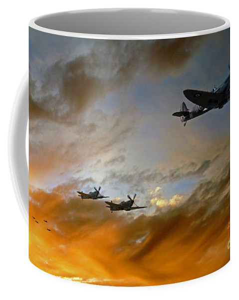 Supermarine Spitfire Coffee Mug featuring the digital art Squadron Scramble by J Biggadike