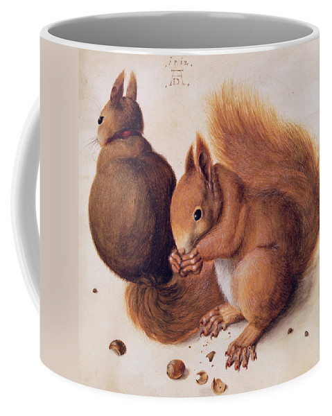 Les Ecureuils Coffee Mug featuring the painting Squirrels by Albrecht Duerer