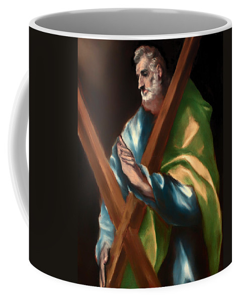 Painting Coffee Mug featuring the painting St Andrew by Mountain Dreams