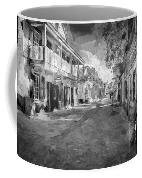 St. George Street Coffee Mug featuring the photograph St George Street St Augustine Florida Painted Bw by Rich Franco