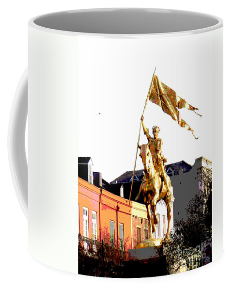 Digital Coffee Mug featuring the digital art St Joan Of Arc Statue At Dawn by Alys Caviness-Gober