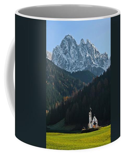 Church St. Johann Coffee Mug featuring the photograph St. Johann With Sass Rigais by Corinna Stoeffl