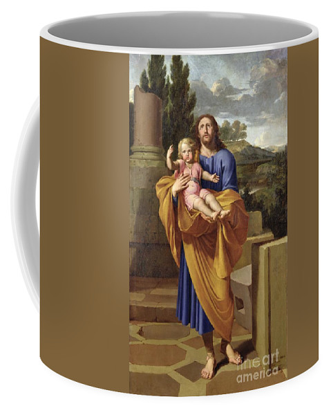 Saint Joseph Coffee Mug featuring the painting St. Joseph Carrying The Infant Jesus by Pierre Letellier