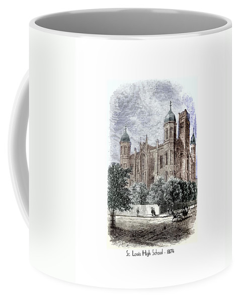 Coffee Mug featuring the digital art St. Louis High School - 1874 by John Madison
