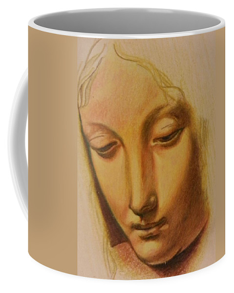 Coffee Mug featuring the drawing St. Mary by Jude Darrien