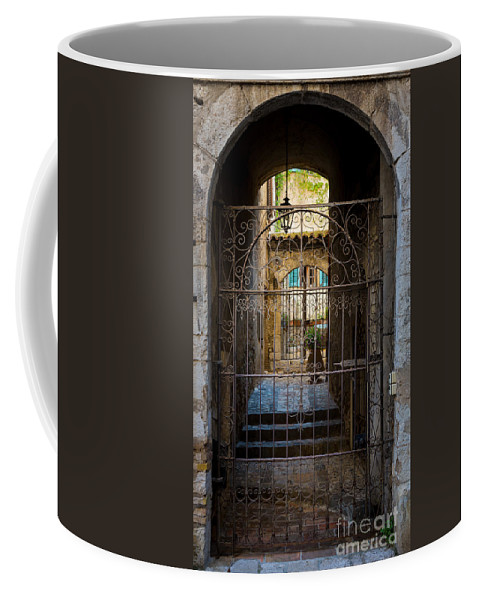 Alpes-maritimes Coffee Mug featuring the photograph St Paul Courtyard by Inge Johnsson