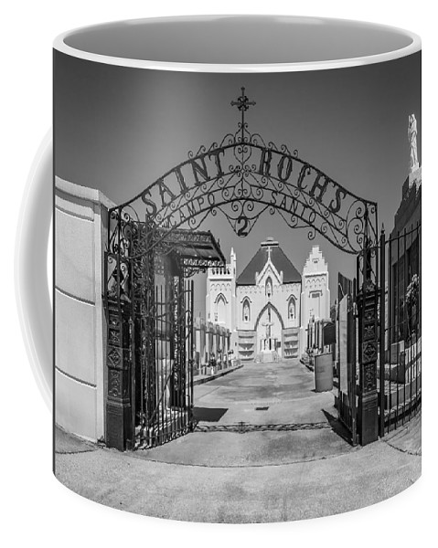 Cemetery Coffee Mug featuring the photograph St Roch's Cemetery Bw by Steve Harrington