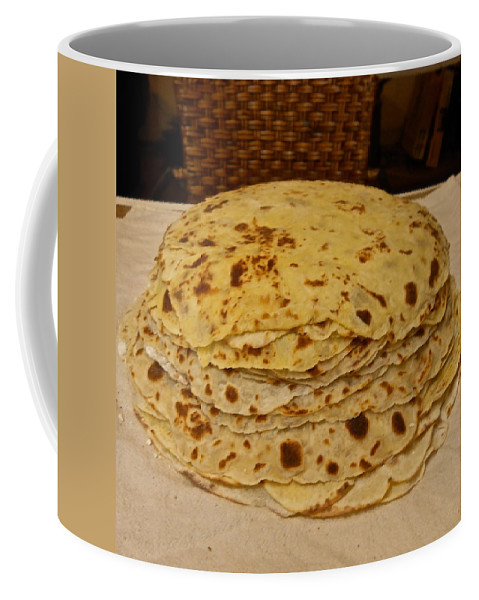 Lefse Coffee Mug featuring the photograph Stack Of Lefse Rounds by Kent Lorentzen