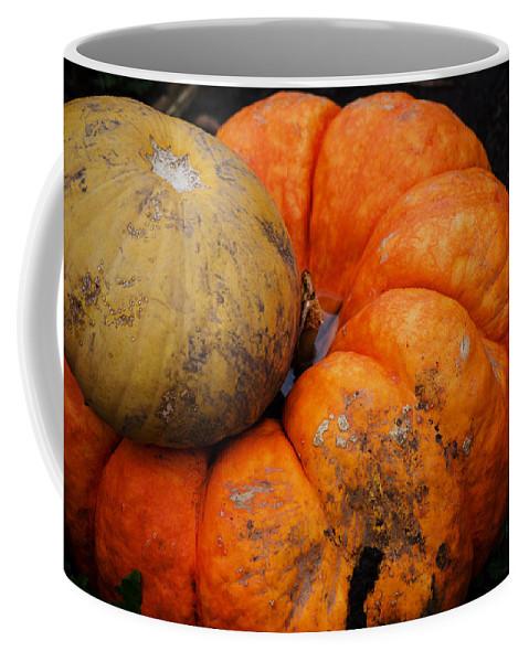 Pumpkin Coffee Mug featuring the photograph Stacked Pumpkins by Jim Shackett