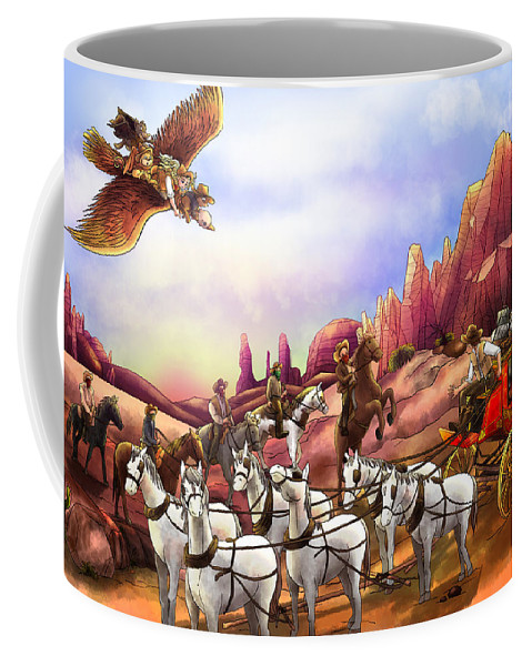 Fantasy Coffee Mug featuring the painting Stagecoach Robbery by Reynold Jay