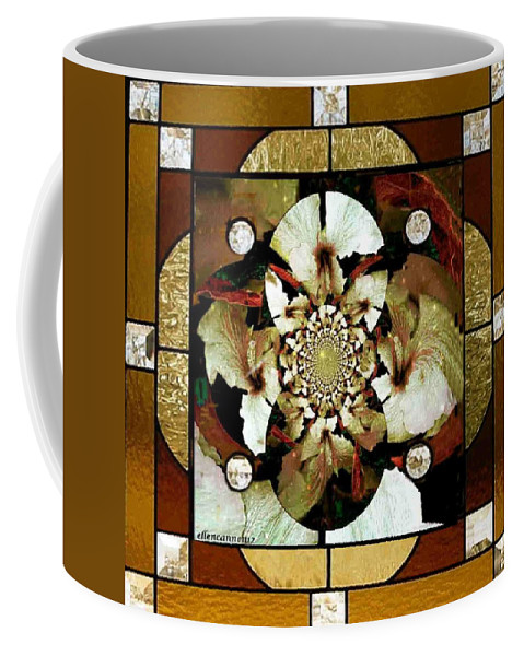 Stained Glass Template Coffee Mug featuring the photograph Stained Glass Template Sepia Flora Kalidescope by Ellen Cannon