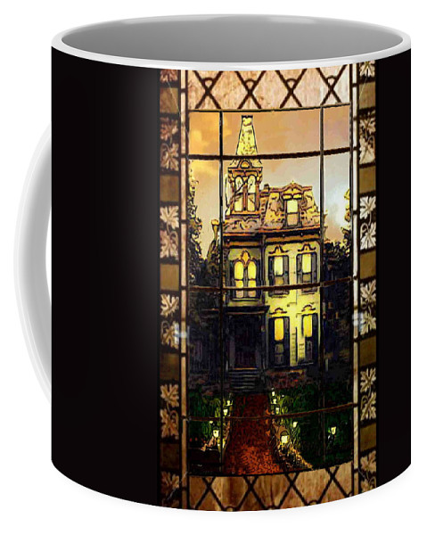 Stained Glass Template Coffee Mug featuring the photograph Stained Glass Template Victorian Twilight by Ellen Cannon
