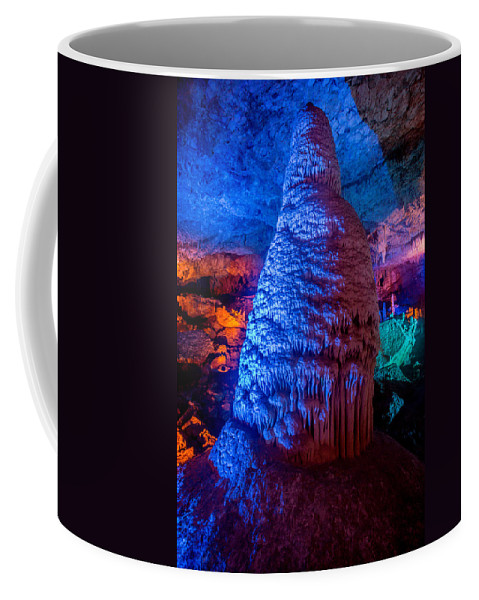 Stalactite Cave Coffee Mug featuring the photograph Stalactite Pillar by Mark Perelmuter